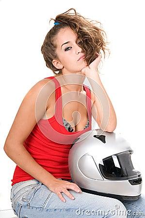 Woman moto sitting with helmet