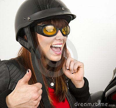 Woman beside Motorcycle thumbs up sign