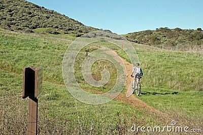 Woman mountain biking