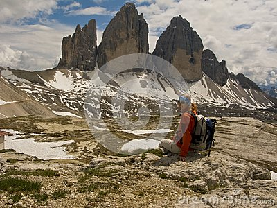Woman In Mountains,Tre Cimes Stock Photography - Image: 5590482