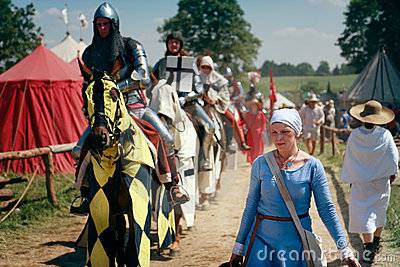 Woman and mounted knights Editorial Stock Image