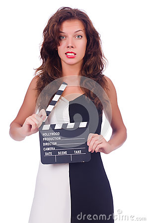 Woman with movie board