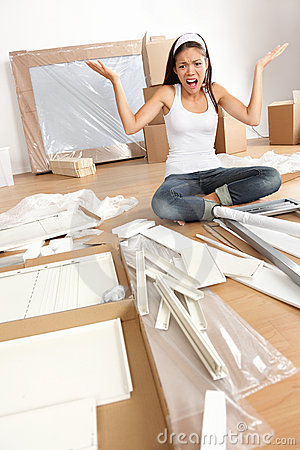 Woman moving in - furniture assembly frustration