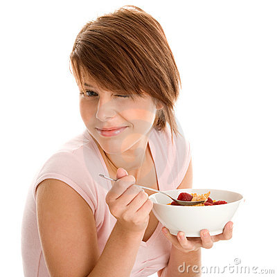 Woman with muesli