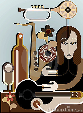 Woman with musical instruments