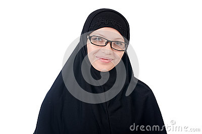 Woman with muslim burqa
