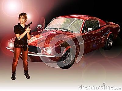 Woman, Mustang and gun
