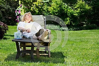 Woman napping outside