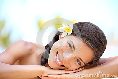 Woman natural beauty relaxing at outdoor spa