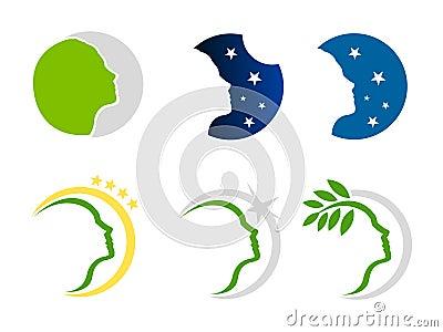 Woman nature and stars logo