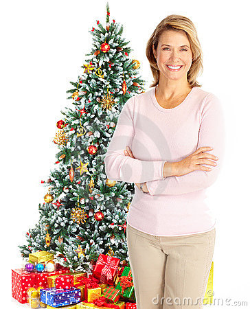 Woman near a Christmas tree