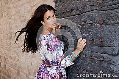 Woman near the gate