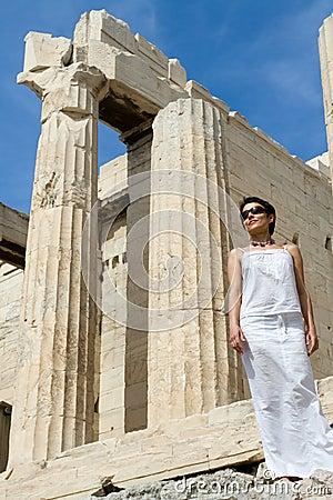 Woman near Propylaea Columns Acropolis Athens Gree