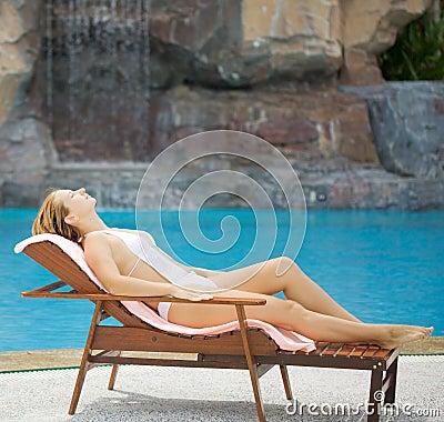 Woman near the swimming pool
