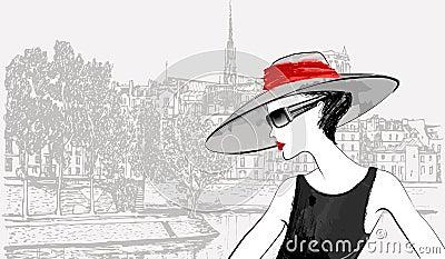 Woman nearby Ile de la cite in Paris