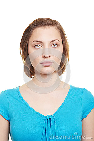 Woman with neutral blank expression