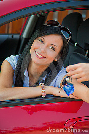 Woman With New Car And Car Keys Royalty Free Stock Photography - Image: 11122387