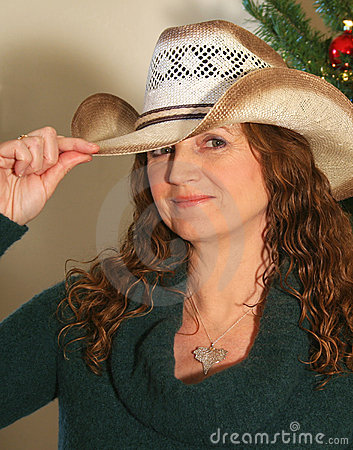 A Woman with a New Cowboy Hat
