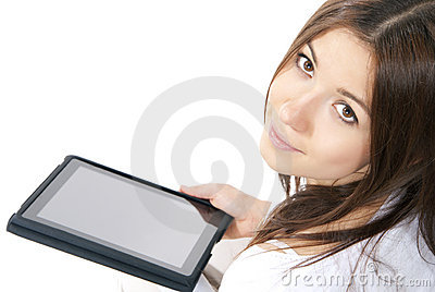 Woman new electronic tablet touch pad