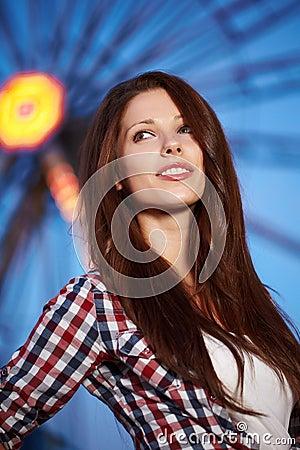 Woman next  Amusement park