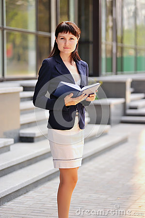 Woman with a notebook
