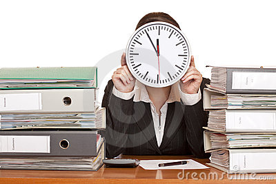 Woman in office has stress with time pressure