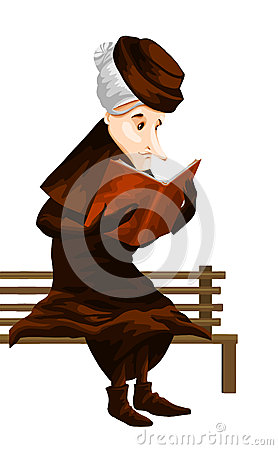 Woman old book bench character cartoon style  illustration