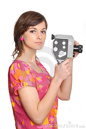 Woman with old movie camera
