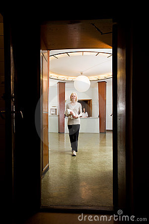 Woman in old Spa Interior