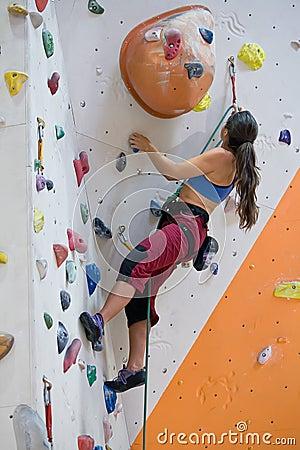 Free Woman On Climbing Wall Stock Image - 3342131