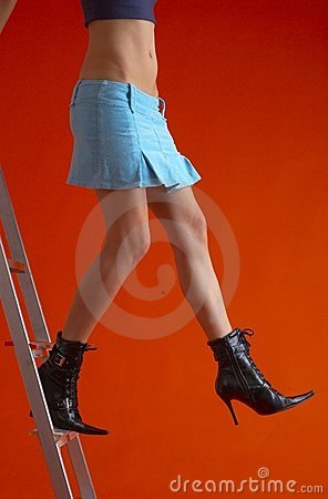 Free Woman On Ladder 4 Stock Photo - 1586620