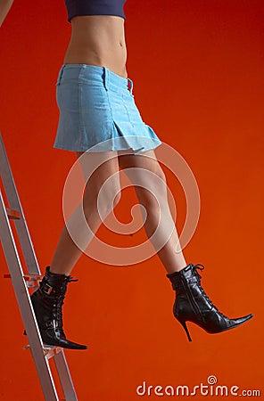 Free Woman On Ladder 4 Stock Photo - 1586620