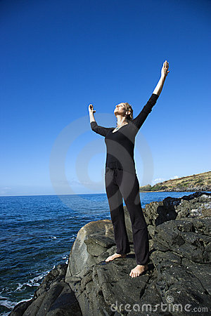 Free Woman On Rocky Coast. Royalty Free Stock Photography - 3418957