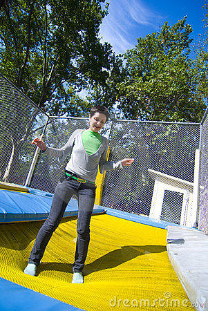 Free Woman On Trampoline Stock Photo - 3196770