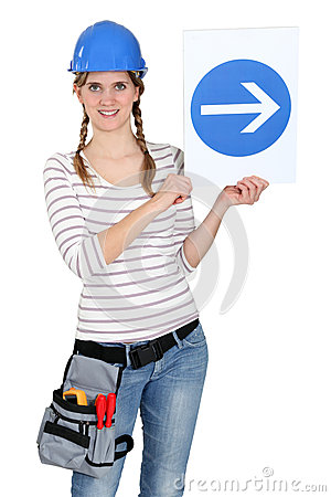 Woman with a one way sign
