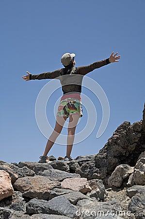 Woman open arms in cross