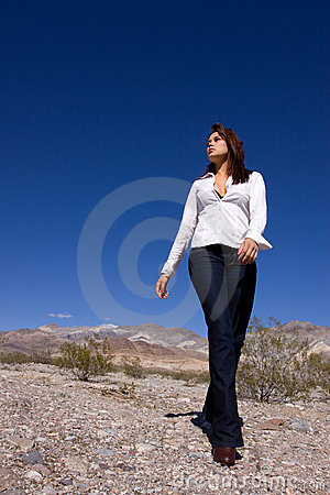 Woman in open desert