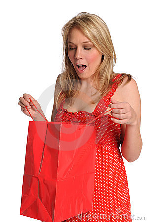 Woman Opening Gift Bag