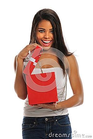 Woman Opening Gift Box