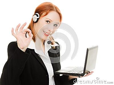 Woman operator helpline with laptop computer