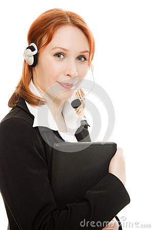 Woman operator helpline with laptop computer