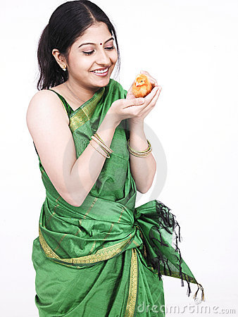 Woman with an orange chick