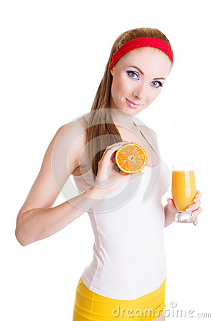 Woman with orange juice and fruit