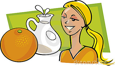 Woman with orange and milk