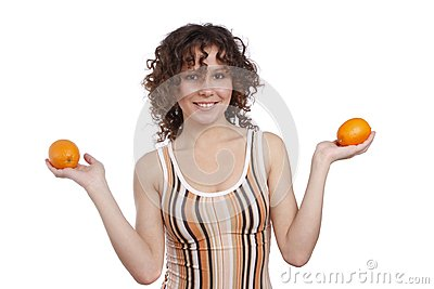 Woman with oranges.