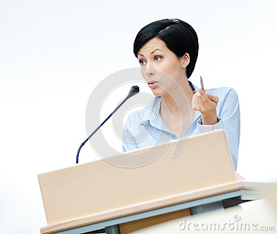 Woman orator at the board