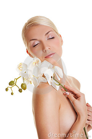 Woman With Orchid Flower Stock Photo - Image: 9639550