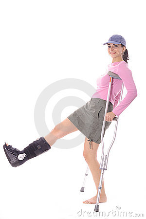 Woman with an ortho boot