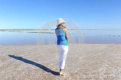 Woman outback lake Australia