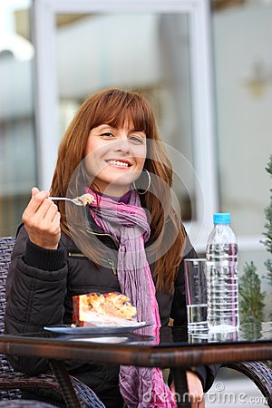 Woman outdoor with cake